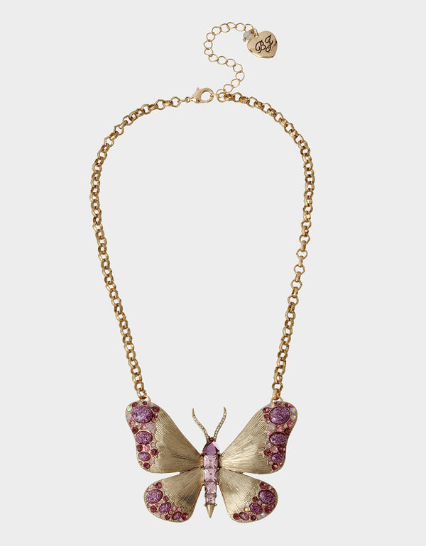 SPRING IN THE AIR BUTTERFLY PENDANT PURPLE - JEWELRY - Betsey Johnson