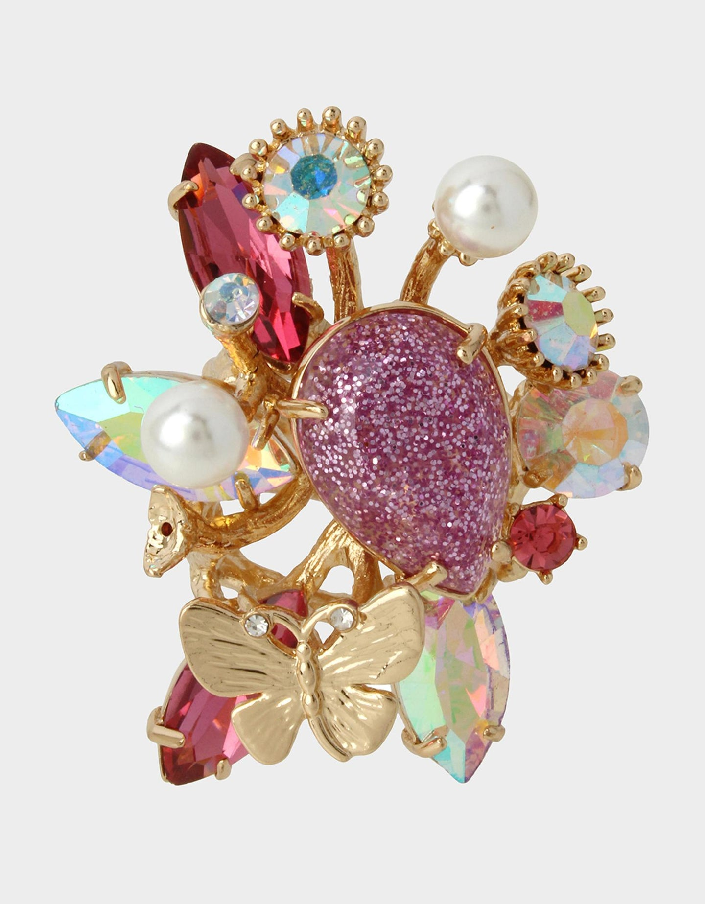 SPRING IN THE AIR CLUSTER RING PURPLE - JEWELRY - Betsey Johnson