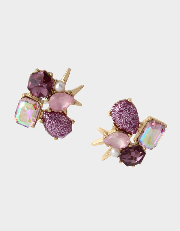 SPRING IN THE AIR CLUSTER STUDS PURPLE - JEWELRY - Betsey Johnson