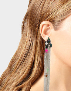 STAR POWER FRINGE DRAMA EARRINGS MULTI