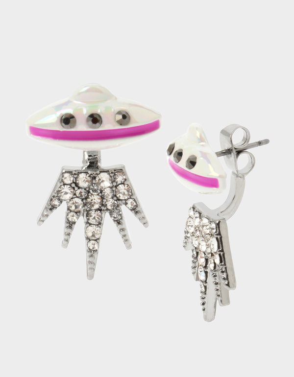 STAR POWER FRONT BACK EARRINGS PINK - JEWELRY - Betsey Johnson