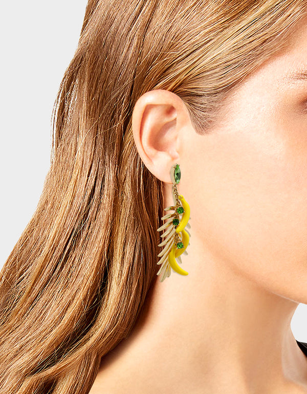 STAY WILD BANANA EARRINGS YELLOW - JEWELRY - Betsey Johnson