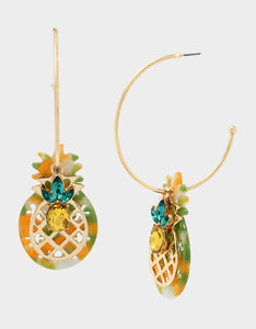 STAY WILD PINEAPPLE CONVERTIBLE EARRINGS GREEN