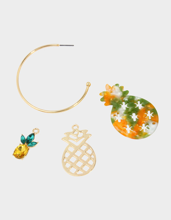 STAY WILD PINEAPPLE CONVERTIBLE EARRINGS GREEN - JEWELRY - Betsey Johnson