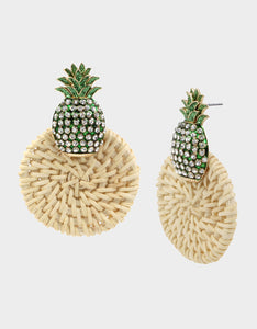 STAY WILD PINEAPPLE DROP EARRINGS GREEN