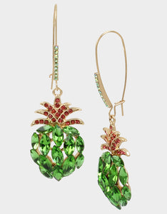 STAY WILD PINEAPPLE HOOK EARRINGS GREEN