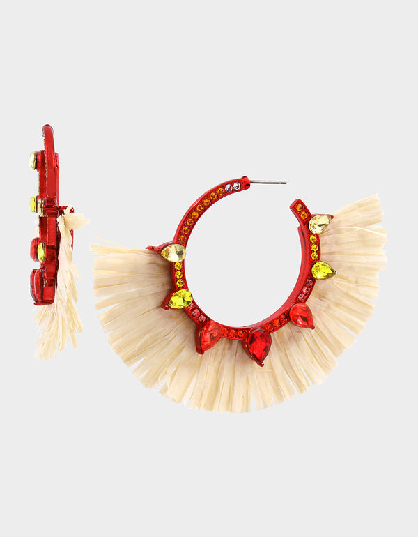 STAY WILD RAFFIA HOOP EARRINGS RED - JEWELRY - Betsey Johnson