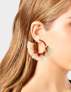 STAY WILD RAFFIA HOOP EARRINGS RED