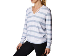 STRAPPY DEEP V HOODIE WHITE-GREY - APPAREL - Betsey Johnson
