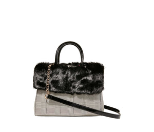 STRIP TEASE REMOVABLE FUR COLLAR SATCHEL BLACK