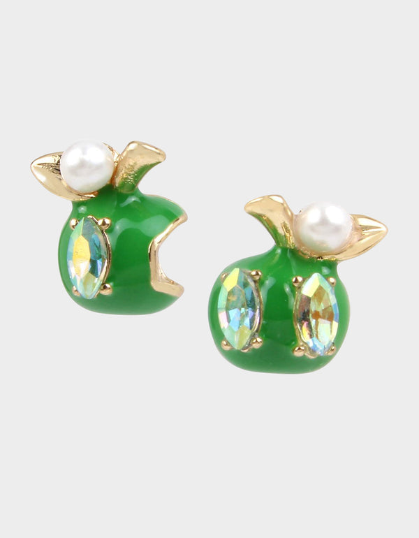 SUMMER PICNIC APPLE STUD EARRINGS GREEN - JEWELRY - Betsey Johnson