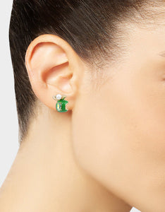SUMMER PICNIC APPLE STUD EARRINGS GREEN