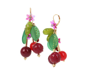 SUMMER PICNIC CHERRY DROP EARRINGS RED
