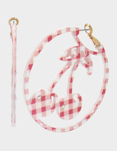 SUMMER PICNIC GINGHAM CHERRY EARRINGS PINK