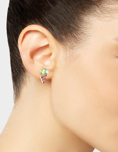 SUMMER PICNIC GRAPE STUD EARRINGS FUCHSIA
