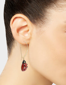 SUMMER PICNIC LADYBUG HOOK EARRINGS RED
