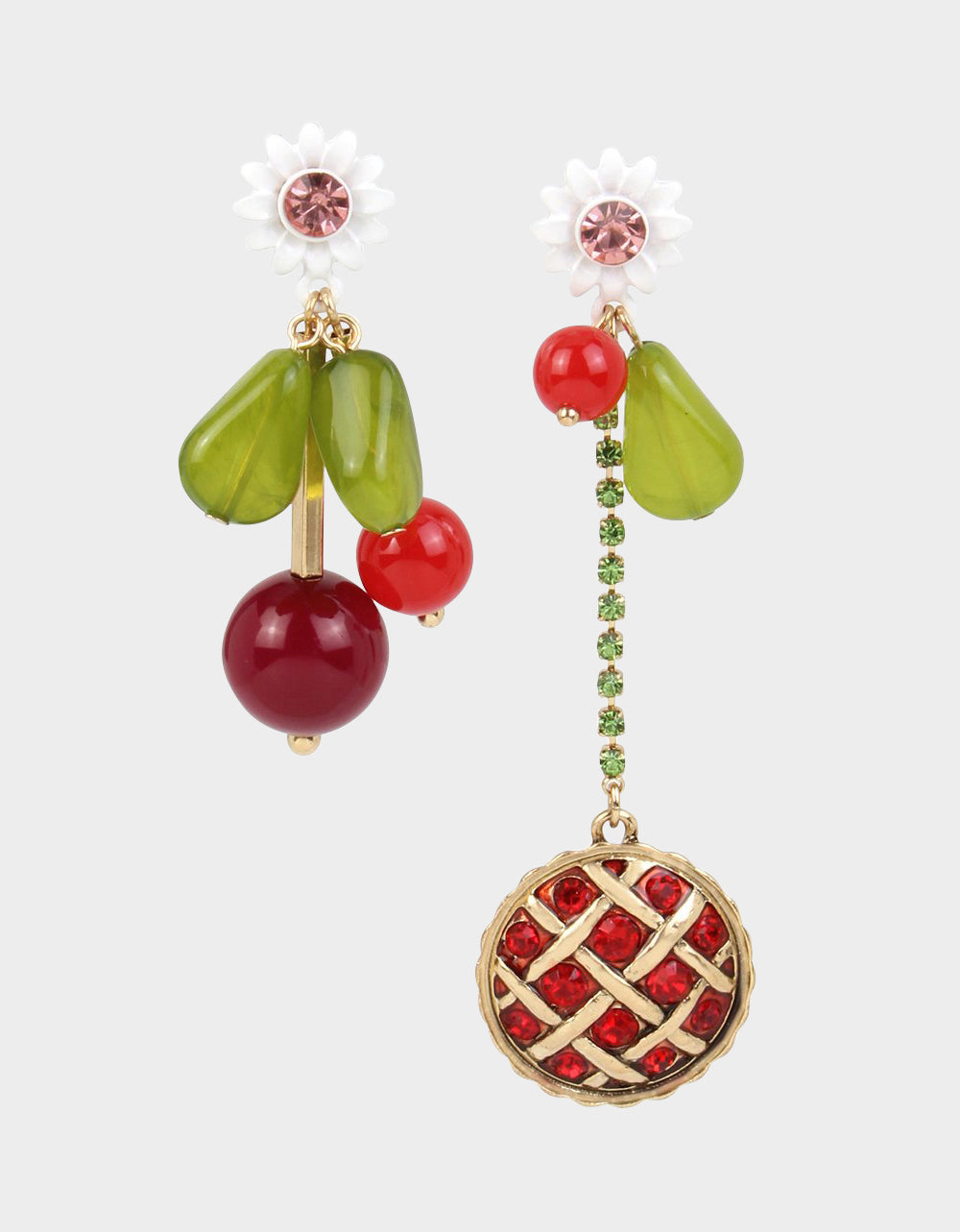 SUMMER PICNIC PIE MISMATCH EARRINGS RED - JEWELRY - Betsey Johnson