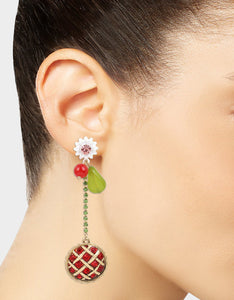 SUMMER PICNIC PIE MISMATCH EARRINGS RED