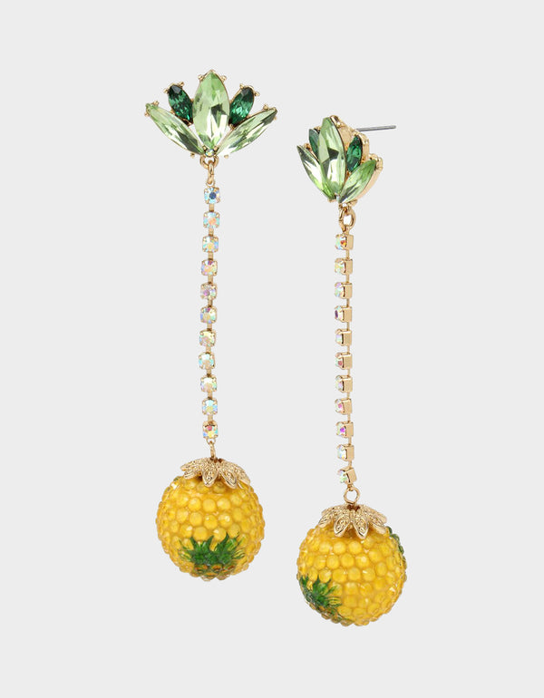 SUMMER PICNIC PINEAPPLE LINEAR EARRINGS YELLOW - JEWELRY - Betsey Johnson