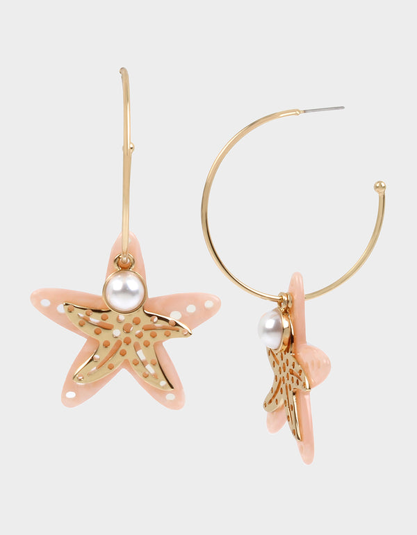 SURFMAID STARFISH CONVERTIBLE EARRINGS PINK - JEWELRY - Betsey Johnson