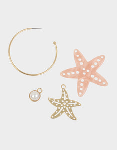 SURFMAID STARFISH CONVERTIBLE EARRINGS PINK
