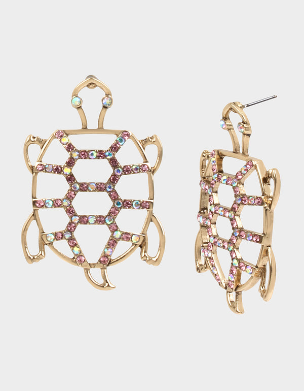 SURFMAID TURTLE OPENWORK EARRINGS PINK - JEWELRY - Betsey Johnson