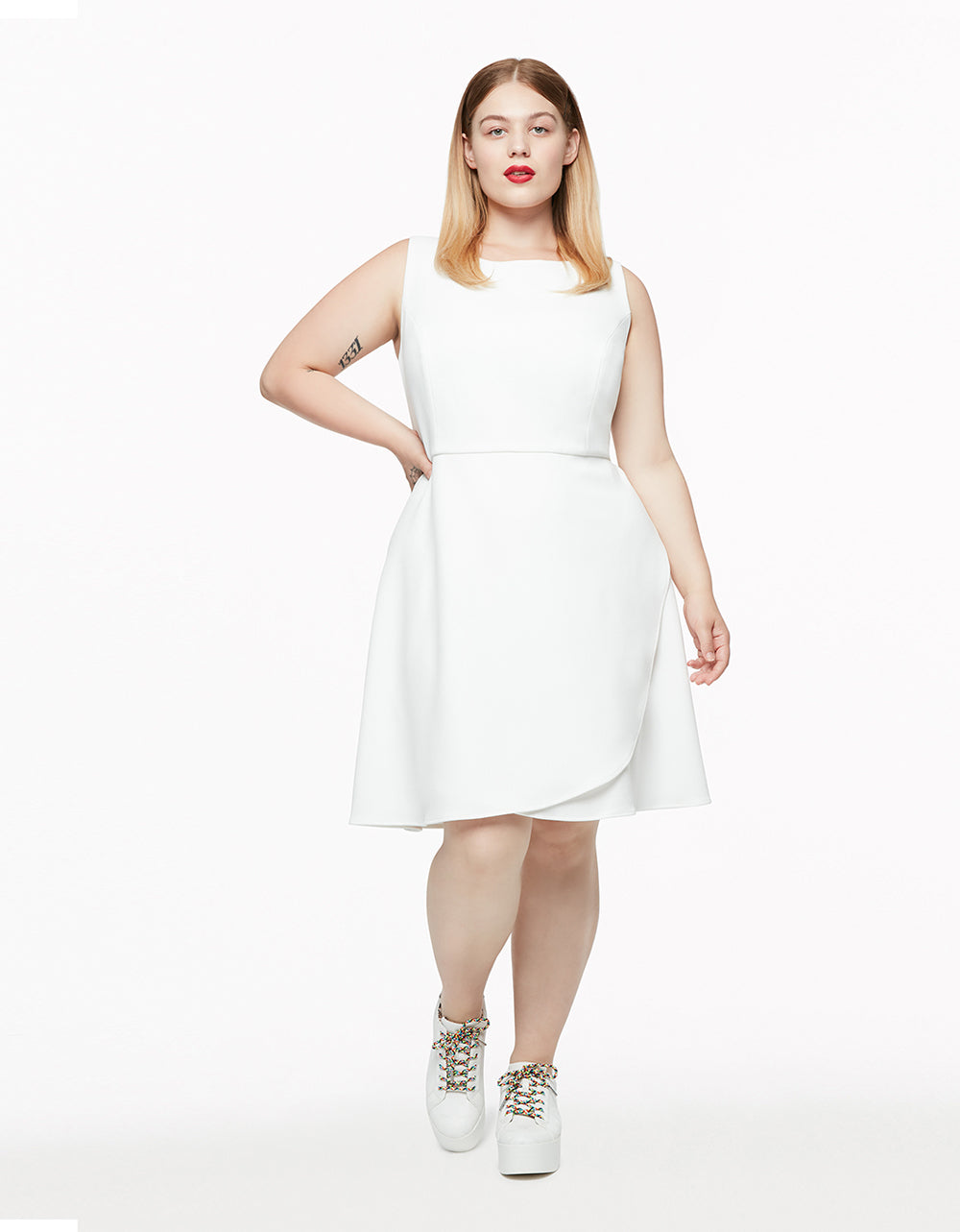 SWEET CONFECTION PLUS SIZE RUFFLE DRESS IVORY - APPAREL - Betsey Johnson