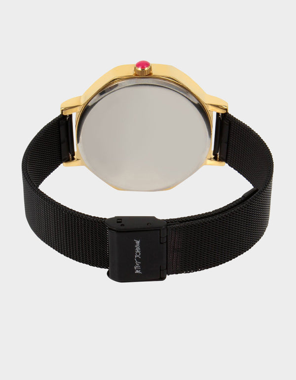 SWEETHEART HEXAGON WATCH BLACK - JEWELRY - Betsey Johnson