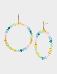 SWEETNESS AND LIGHT BEAD HOOP EARRINGS MULTI