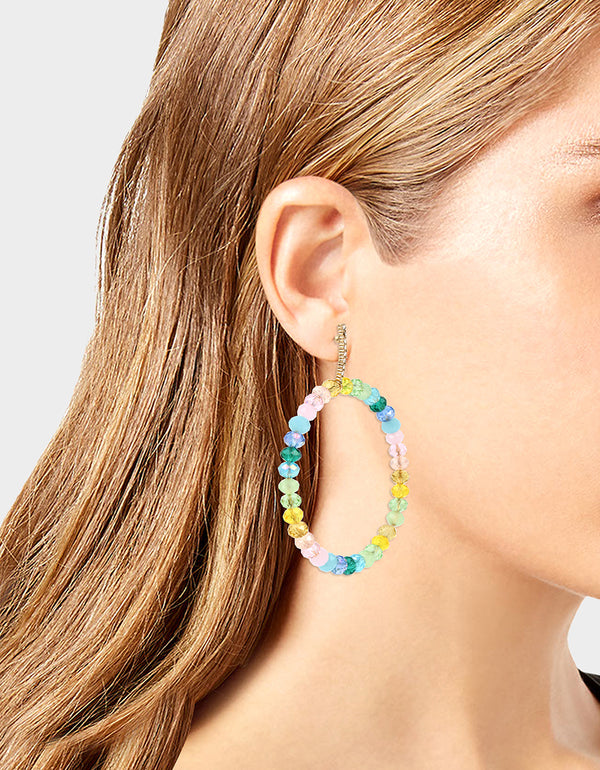 SWEETNESS AND LIGHT BEAD HOOP EARRINGS MULTI - JEWELRY - Betsey Johnson
