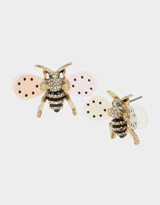 SWEETNESS AND LIGHT BEE STUD EARRINGS CRYSTAL