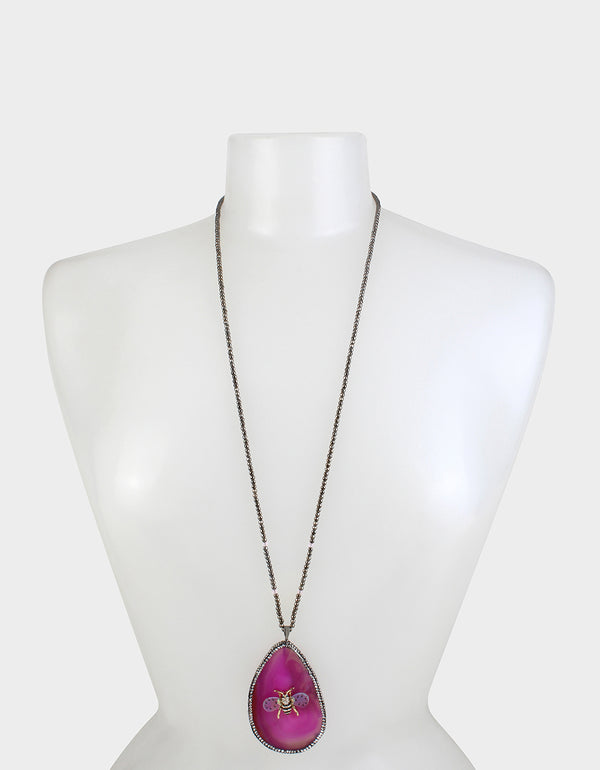 SWEETNESS AND LIGHT STONE LONG NECKLACE PINK - JEWELRY - Betsey Johnson
