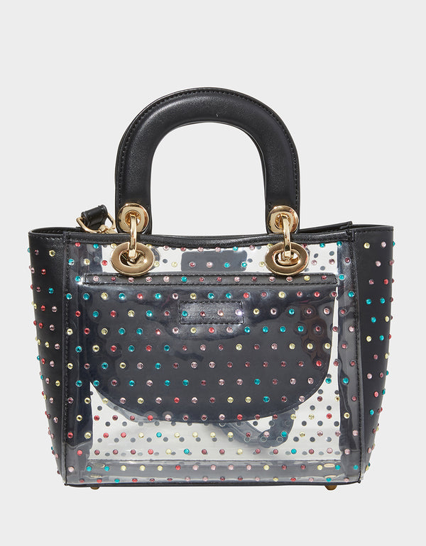 TAKE ME TO THE PROM TOP HANDLE BAG BLACK MULTI - HANDBAGS - Betsey Johnson