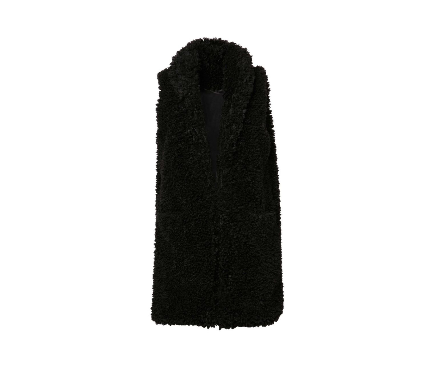 TEDDY FAUX FUR VEST BLACK - APPAREL - Betsey Johnson
