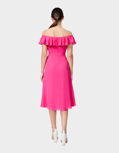 THINK PINK PEBBLE CREPE DRESS PINK