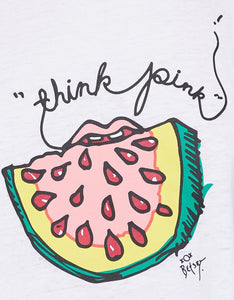 THINK PINK WATERMELON SWING TANK WHITE