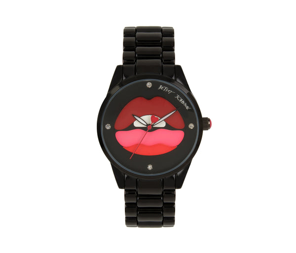 THREE LAYER LIPS LINK WATCH BLACK - JEWELRY - Betsey Johnson