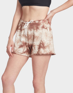 TIE DYE RAW EDGE SHORT MOCHA