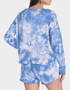 TIE DYE SPLIT BACK TOP BLUE