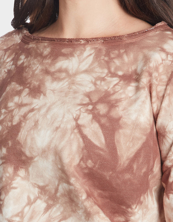 TIE DYE SPLIT BACK TOP MOCHA - APPAREL - Betsey Johnson