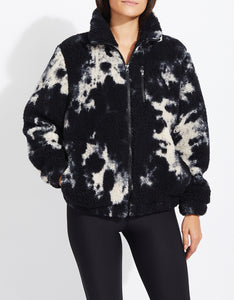 TIE DYE TEDDY FLEECE JACKET BLACK