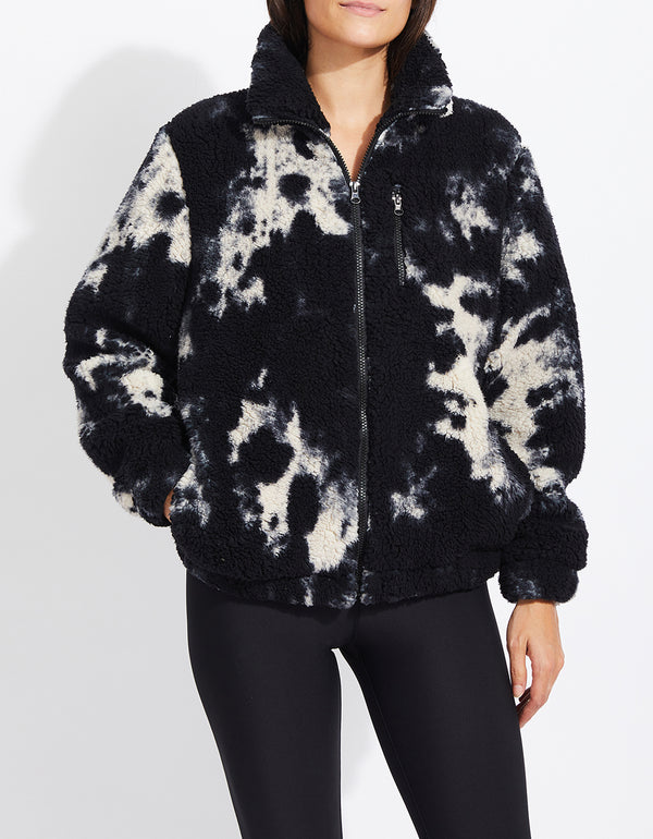 TIE DYE TEDDY FLEECE JACKET BLACK - APPAREL - Betsey Johnson