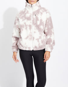 TIE DYE TEDDY FLEECE JACKET PINK