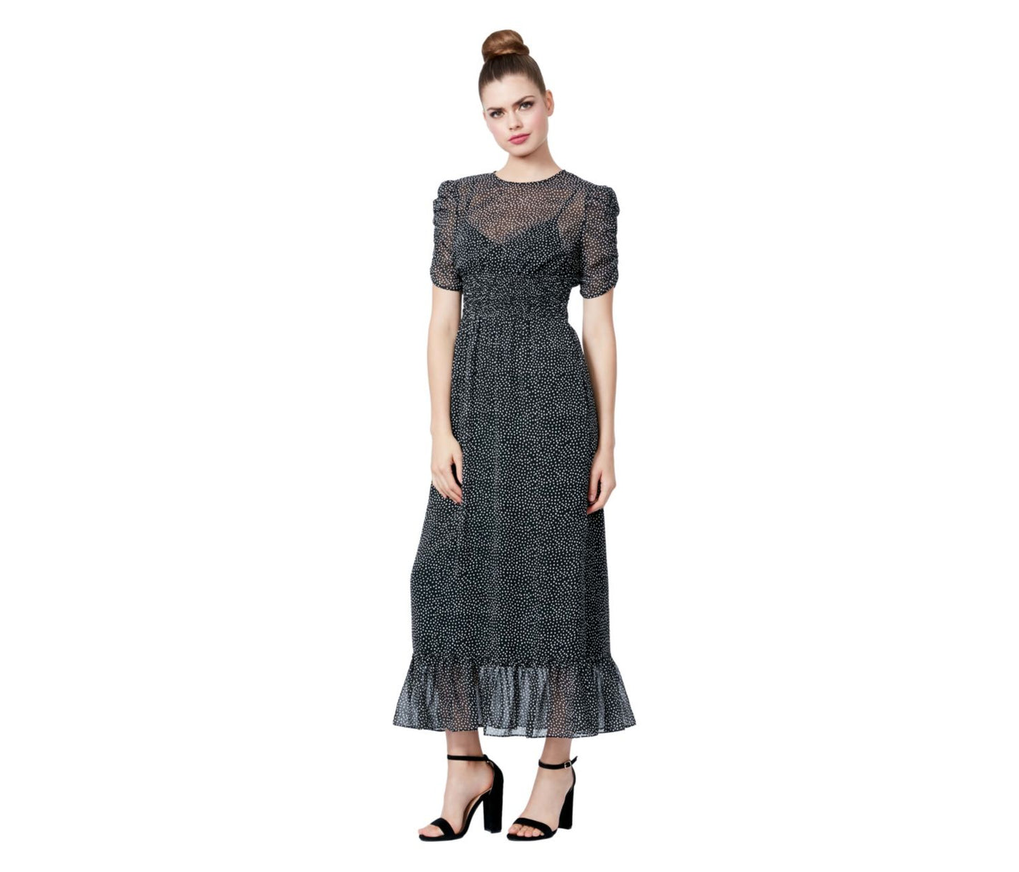 TINY DOTS RUFFLE HEM MAXI DRESS BLACK-WHITE - APPAREL - Betsey Johnson