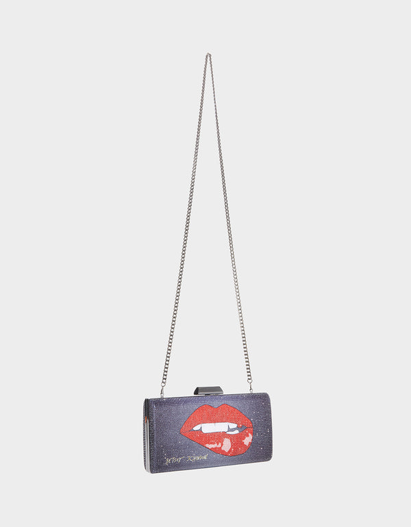 TOO MUCH LIP MINAUDIERE BLACK-RED - HANDBAGS - Betsey Johnson