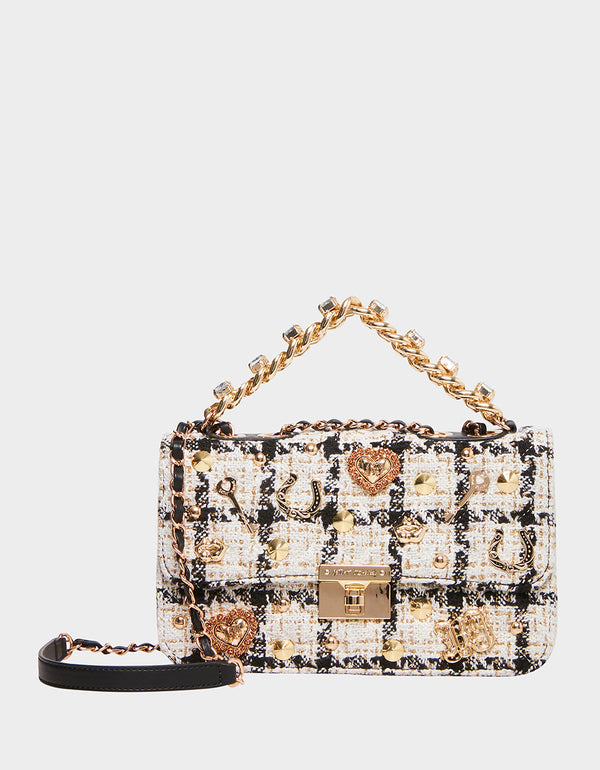 TOP DRAWER BOUCLE BAG WHITE - HANDBAGS - Betsey Johnson