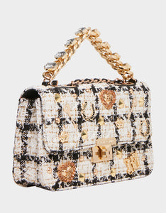 TOP DRAWER BOUCLE BAG WHITE
