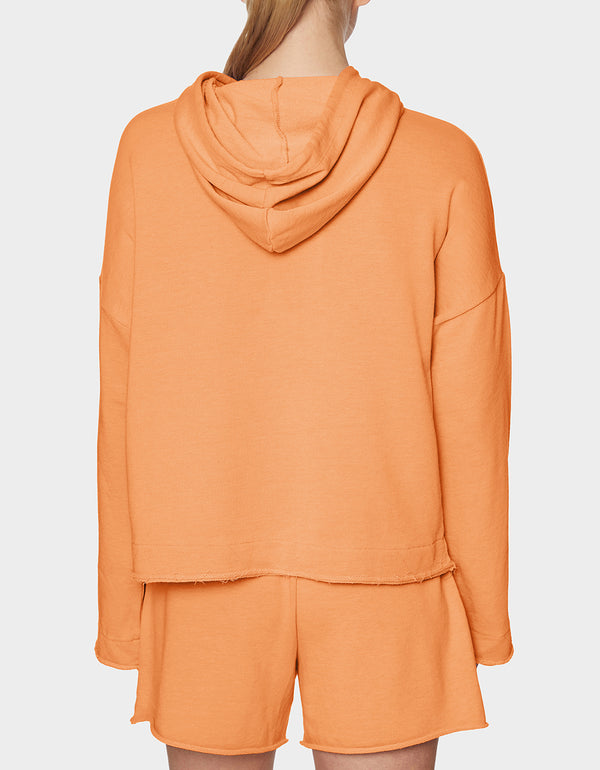 TOPSTITCH RAW EDGE HOODIE CORAL - APPAREL - Betsey Johnson