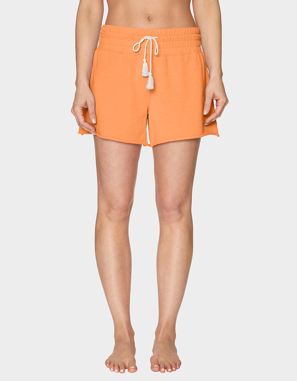 TOPSTITCH RAW EDGE SHORT CORAL - APPAREL - Betsey Johnson