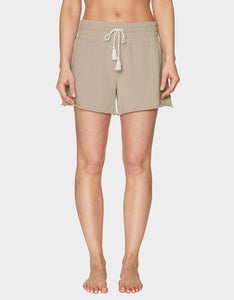 TOPSTITCH RAW EDGE SHORT BEIGE